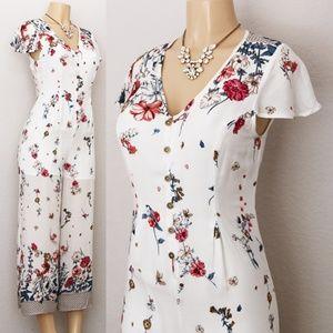 White Floral Button Front Culotte Crop Jumpsuit